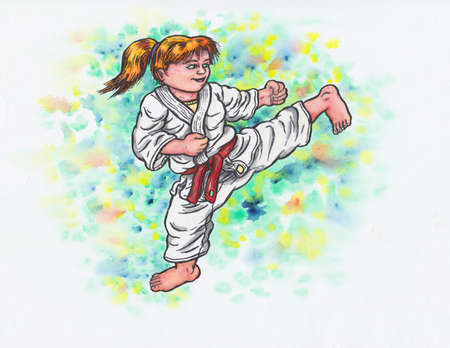 Abstract colorful watercolor cartoon illustration of a young girl wearing a karate suit, smiling happily and doing a kick; The whole image is hand drawn with ink and colored with watercolor and the blurring is intended and a part of it. Stock Photo