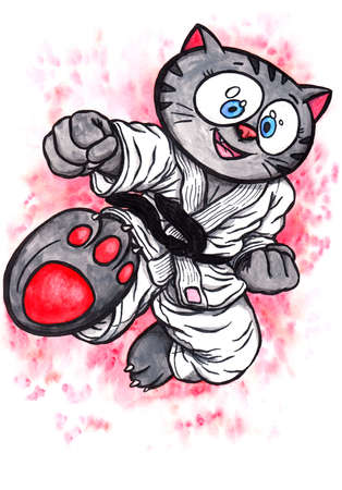 An abstract colorful watercolor cartoon illustration of a manga-like kitten with big eyes, wearing a karate suit with a black belt, smiling and leaping into the air while kicking; The whole image is hand drawn with ink and colored with watercolor and the  Stock fotó