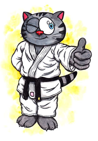 An abstract colorful watercolor cartoon illustration of a manga-like kitten with big eyes, wearing a karate suit with a black belt and standing, smiling and doing the