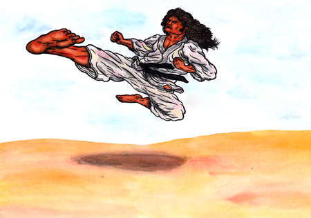 abstract colorful watercolor cartoon illustration of an old man with long hair, wearing a karate suit with a black belt, flying through the air and kicking; The image is hand drawn with ink and colored with watercolor, refined by the computer, blurring in