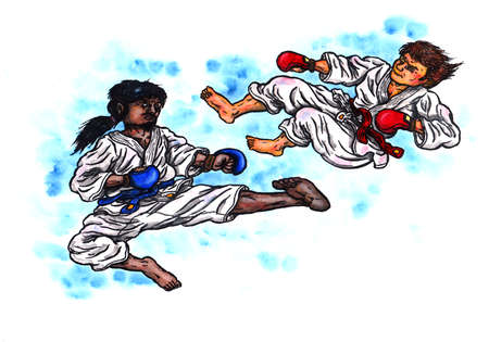 an abstract colorful watercolor cartoon illustration of two men wearing karate suits, red and blue grappling gloves and belts, leaping into the air and fighting each other in a tournament battle; The image is hand drawn with ink and colored with watercolo