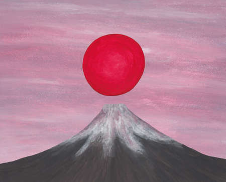 Sunrise over the Japanese mountain in front of the pinkish morning sky. This image is one of my own created series