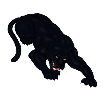 an abstract painting illustration of a crouching large fearsome black panther, ready to strike, a simple motive Stock fotó