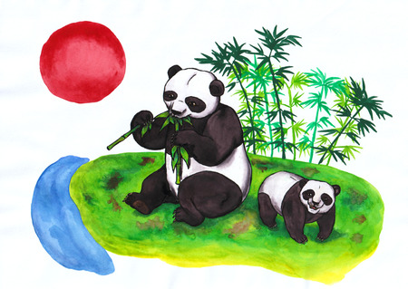 An abstract colorful watercolor painting illustration of a panda sitting in a grass and shining on a white background, shining above a small rivulet. This image is meant to symbolize Chinese, respectively Asian tradition. This image is one of my own created series Stock fotó