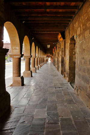 decades: Ayacucho. November 11, 2015 - Stone arches in the first level built in the first decades of the eighteenth century and are on the four sides of the main square of Ayacucho.
