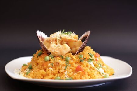 Tasty rice with seafood, a Peruvian specialty