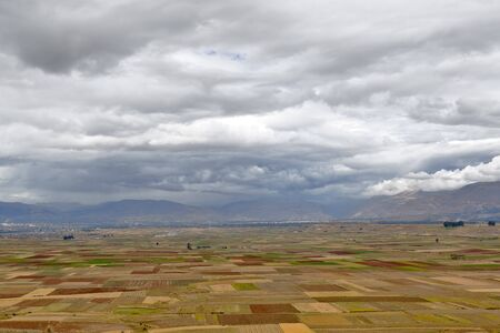 Beautiful view of the extensive agricultural crops of Orcotuna in the dry season