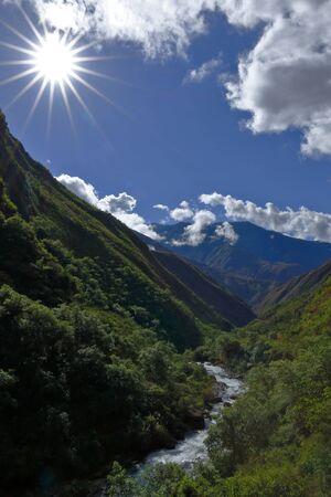 Flashes of sun over the valley san fernando in Santo Domingo de Acobamba