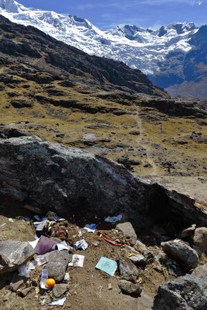 Accumulation of waste product of traditional activities that are now polluting areas of the snowy huaytapallana