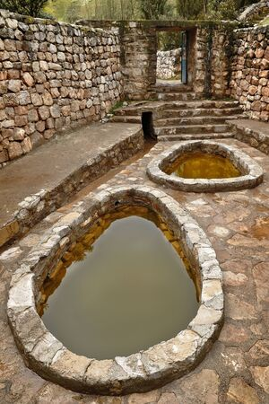Salted ponds in tourist center of Cahi Pozo in Tarma