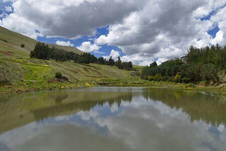 Andean lake, water harvest 版權商用圖片