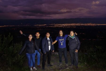 Huancayo, Junin. March 31, 2018 - group of trekking and adventure photographed during the evening at the top of Arhuaturo