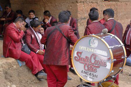 Angasmayo, Chupaca. August 20, 2016 - musicians at the patron saint of the town center of Angasmayo. Redakční