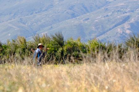 Chupaca, Junín. May 17, 2018. Elderly farmer walking carefree on his land.