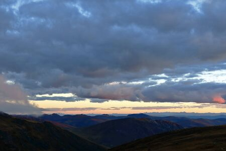 Mountains of the central mountain range of the Peruvian Andes at sunset