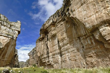 Landscape view of the imposing Shucto canyon (twisted) is a geological formation of rock modeled by the erosion of water over millions of years found in Canchayllo, Jauja. Фото со стока