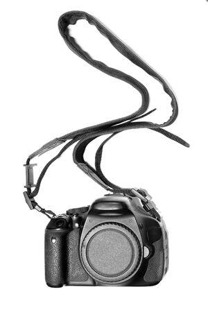 Modern digital camera on white background, only body shown