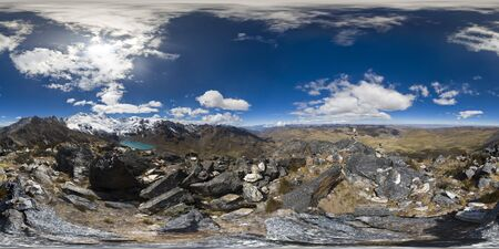 beautiful view of a 360 degree panoramic photograph on an Andean summit within the central mountain range of Huaytapallana. Huancayo - Peru. Banco de Imagens