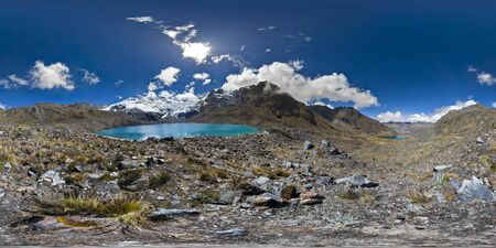 beautiful view of a 360 degree panoramic photograph among the Andean lagoons in the central mountain range of Huaytapallana. Huancayo - Peru.