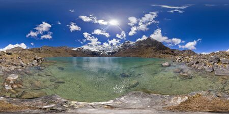 beautiful view of a 360 degree panoramic picture at the foot of the Andean lagoon called cochagrande. Huancayo - Peru.