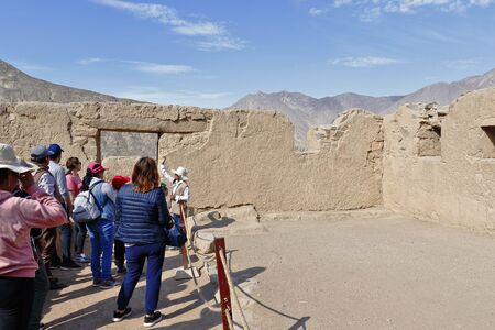 Huaycan, Lima. November 02, 2019 - Tourists visit the interpretation center of the archeological zone of Huaycan. Lima Peru.