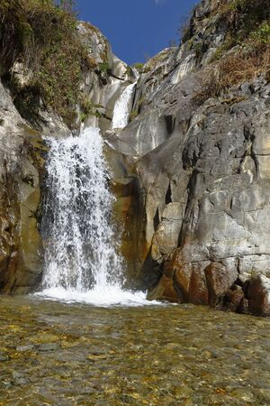 Beautiful sunset view of the Palacala waterfall in the San Jerónimo de Surco district. Lima-Peru