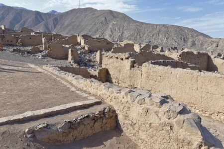 View of the ancient ruins of the archeological zone Huaycan de Cieneguilla. Lima Peru Banco de Imagens