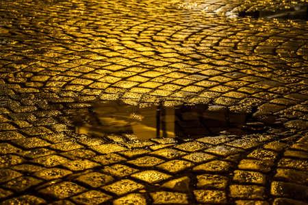 Cobblestone at night