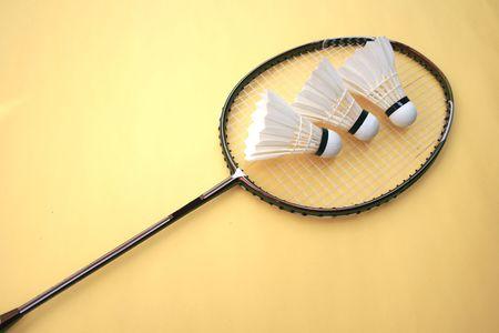 badminton racket and shuttlecocks Stock Photo