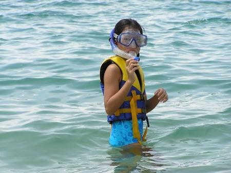 snorkling: girl in snorkling gear