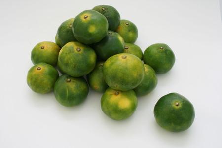 a bunch of oriental green citrus fruit