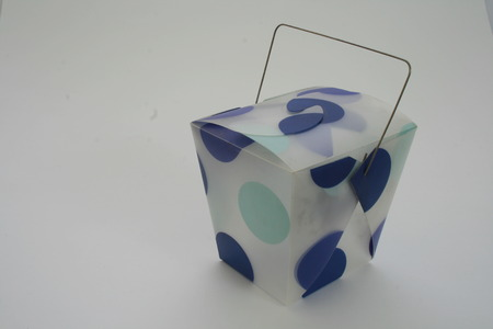 blue dotted oriental carton isolated on white background Stock Photo