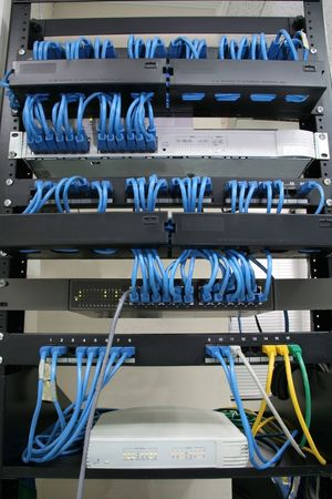 cabling rack with patch panels hubs and switches Stock Photo - 1737337
