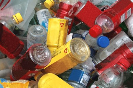 various pet plastic bottles ready for recyling