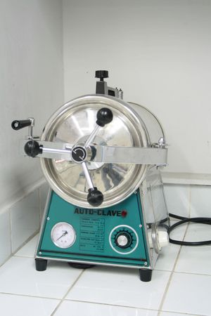 disinfect: autoclave equipment inside the laboratory room