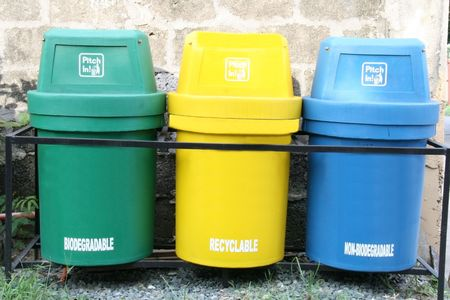 coded: three color coded trash bin for waste segregation Stock Photo