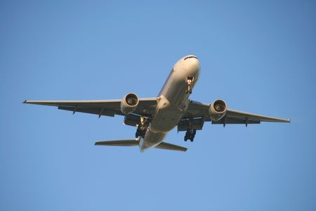 view of a jet plane on final approach  Stock Photo