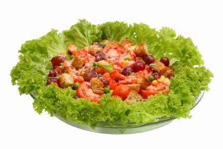 fresh leafy green salad in a bowl
