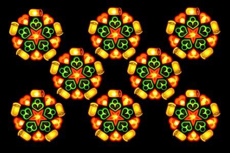 eight lighted christmas lantern isolated on black background