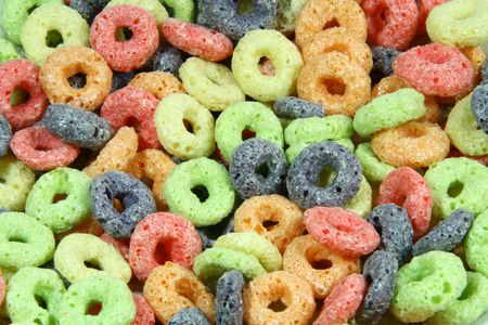 colorful round fruit cereals ideal as background Stock Photo