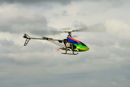 gas fueled  toy helicopter in flight Stock Photo