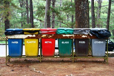 color coded trash bins for waste segregation