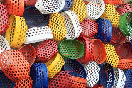 colorful fish baskets as a background
