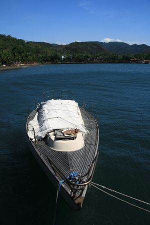 boat on the blue waters of a resort