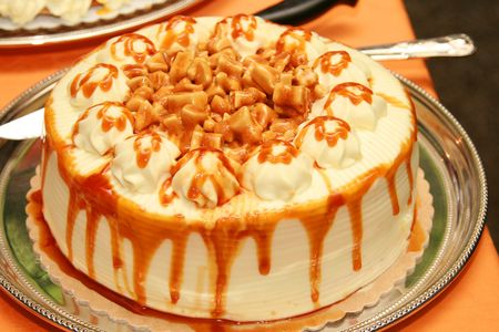 sinful: sweet toffee caramel cake served as dessert