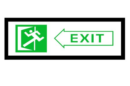 emergency exit sign with man and door figure