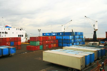 modular shipping containers on a ship yard Stock Photo