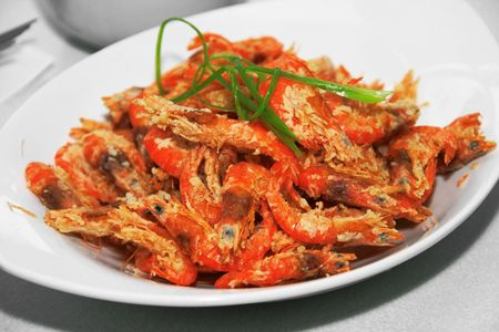 deep fried crispy shrimp served in a dish