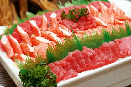 japanese sashimi food served in a big dish Stock Photo