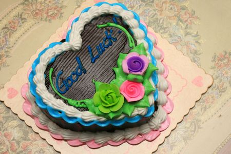 goodluck: heart shaped chocolate cake with goodluck message